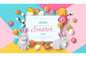 Easter square frame