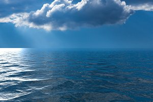 Background image of stormy sky over a calm and reflective ocean