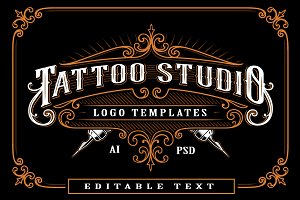 Set of vintage tattoo studio logos.