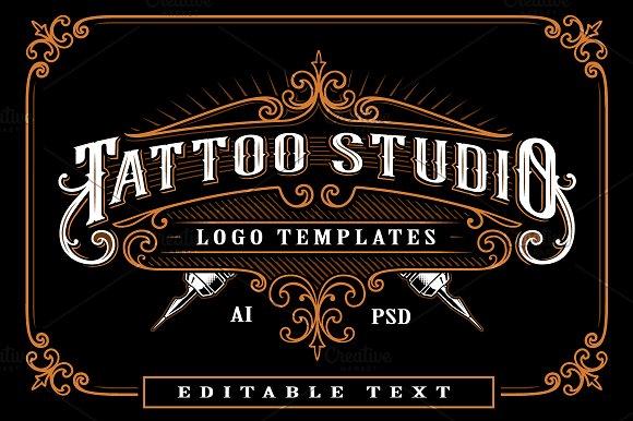 set of vintage tattoo studio logos logo templates creative market
