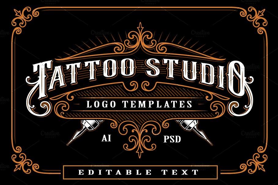 Set of vintage tattoo studio logos. ~ Logo Templates ~ Creative Market