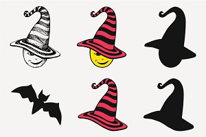 Witch's Hat and bat vector SVG PNG