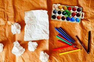 creative chaos. crumpled paper, blan