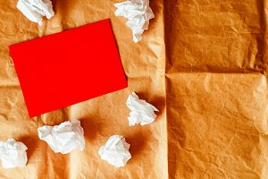 blank sheet of paper. Red. crumpled