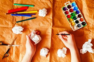 creative person. crumpled paper. wri