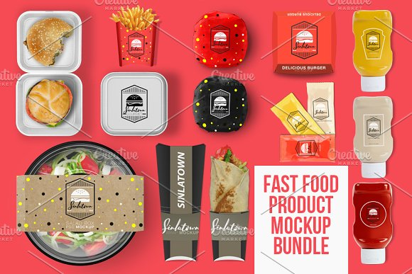 Fast Food Product PSD Mockup Bundle
