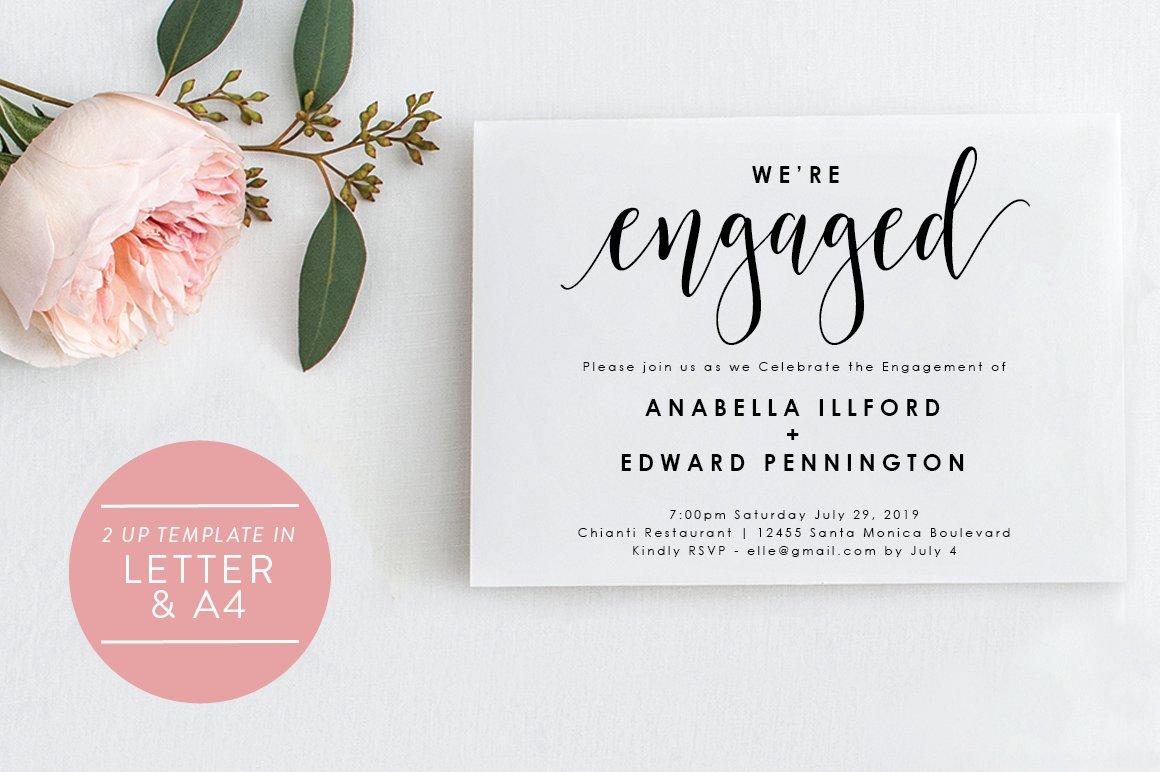 Engagement Invitation - Editable PDF | Creative Wedding Templates ~  Creative Market