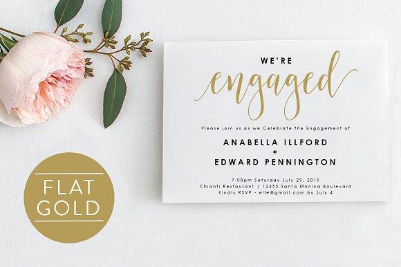 Gold Engagement Invite Editable PDF