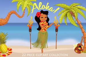 Aloha Hawaiian Luau Clip Art Set