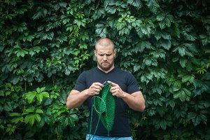 Man knits