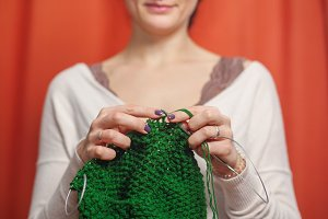Close up of woman knits