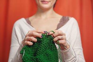 Close up of woman knits