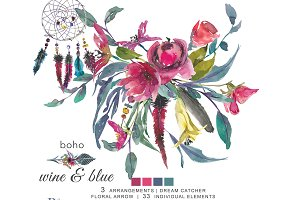 Watercolor Boho Wine & Blue Clip Art