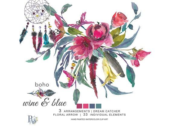 40% OFF Boho Wine Blue Clip Art