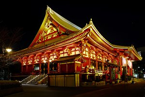 temple at night, Tokyo, Japan