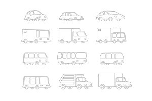 Set of Line drawing different cartoon transparent cars buses trucks. Flat outline contour vector stock illustration.
