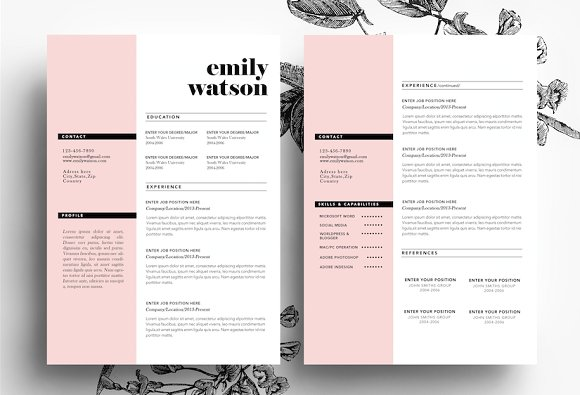 3 page cv template business card resume templates on creative market
