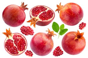 Pomegranate isolated on white background, collection