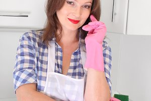 housewife woman in kitchen
