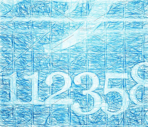 Blue school numbers written with pencil illustration background