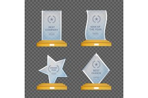Glass trophy awards vector set. Glossy transparent prizes for winners.