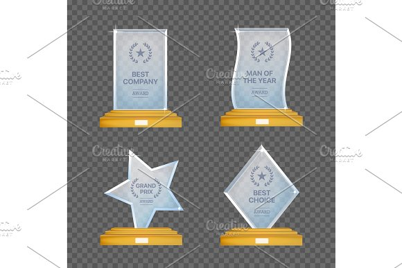 Glass Trophy Awards Vector Set Glossy Transparent Prizes For Winners