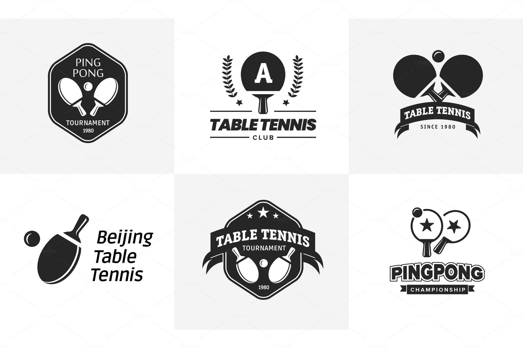 Set of vintage table tennis logos and badges. Collection