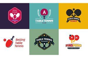 Set of vintage color table tennis logos and badges. Collection of the ping pong championship labels.