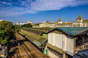 Train station in Yangon, Myanmar