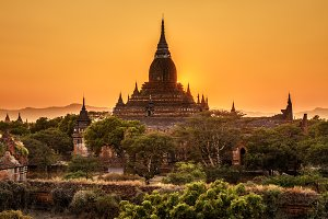 Sunrise above a temple in Bagan