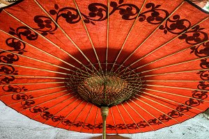 Red umbrella in Myanmar