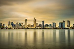 Sunset skyline of San Diego downtown, California