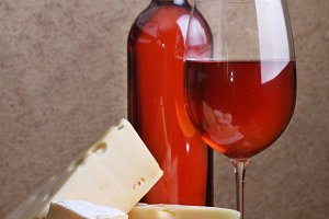 wineglass, bottle of wine cheese
