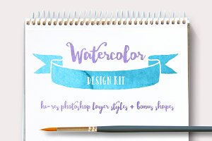 Watercolor Design Kit + BONUS Shapes