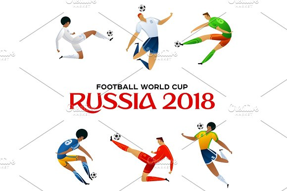 soccer player colored set in Illustrations