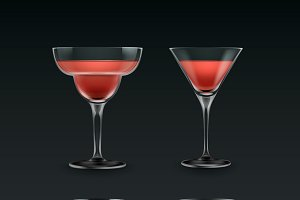 Set of different cocktail glass