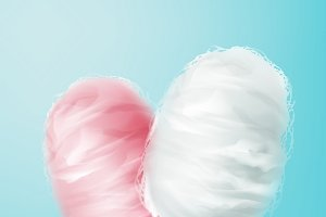 Pink and white cotton candy