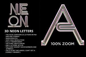3D Neon Alphabet