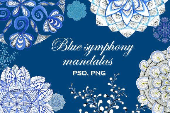 Blue Symphony Mandala Flowers Set