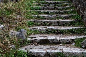 old stone staircase in the mountains of Montenegro