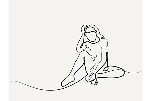 Continuous line drawing. Sitting sad girl