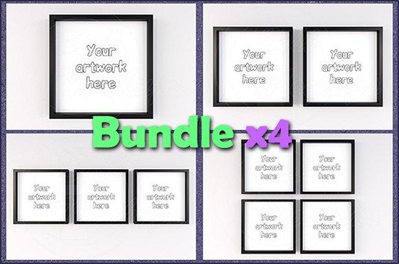 Mockup Minimal Square Frame BUNDLEx4