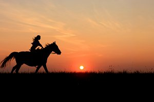 Galloping horse, rising sun horizon