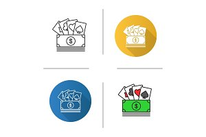 Cash with playing cards icon