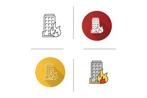 Burning building icon