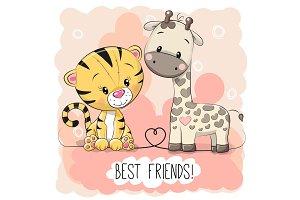 Cute Tiger and Giraffel