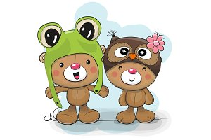 Two Cute Cartoon Bears in a frog and owl hat