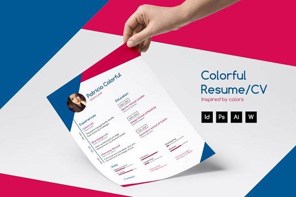 colorful resume cv resume templates creative market