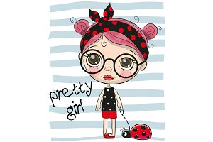 Cute Cartoon Girl with big glasses