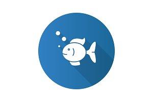 Aquarium fish flat design long shadow glyph icon